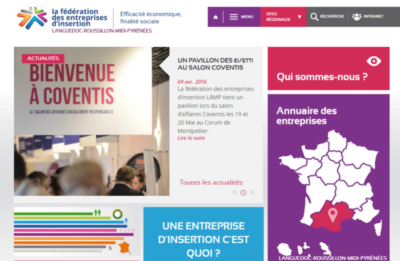 Page d accueil du site internet de la fédération des entreprises d insertion Languedoc Roussillon Midi Pyrénées